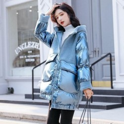 2020 Ladies Winter Coat New Wool Fur down cotton Jackets Women glossy down cotton Outwear Female casual Patchwork Parkas M317