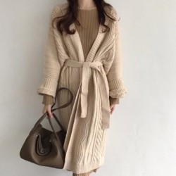 2020 New Autumn and Winter Twist Retro Thick Cardigan Jacket Women Slim Casual Sweater Mid-long Outwear Knitted Coat NS2081