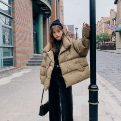 2020 New Autumn Winter Korean Casual Overcoat Harajuku Female Jacket Loose Coats Thickening Warm Cotton Solid Outwear M61