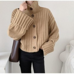2020 New Autumn Winter Women Sweaters Female Knitted Cardigan Coat Turtleneck Loose Elegant Office Lady Casual All Match Tops