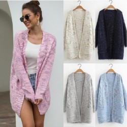 2020 New Style for Autumn and Winter Knitted Cardigan Warm Thick Furry Variegated Sweater Cardigan women sweater  cardigan