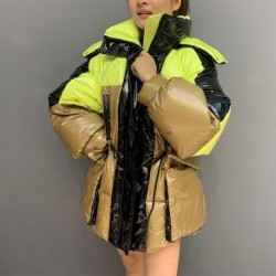 2020 New Winter Down Coat Contrast color Glossy Fashion Short White Duck Down Jacket Women Thick Outerwear Warm Hooded Parka D05