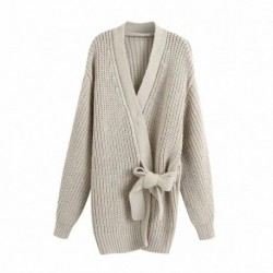 2020 New Women Knit Cardigan V-neckline Long Sleeves Wrap Closure Long Sweater Casual femme vetement ropa mujer