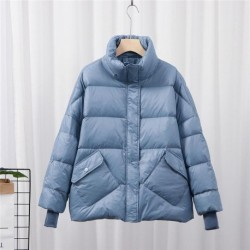 2020 New Women's Down Jacket Short Loose Stand Collar Large Size Thick Winter Coat Female Fashion Wild Women's Clothing