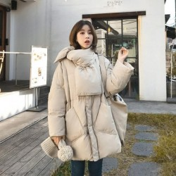 2020 Winter Jacket Women Solid With Scarf Warm Female 90%White Duck Down Jacket Down Coat Loose Oversized Womens Long Down Parka