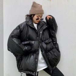 2020 Winter Jacket Women Stand Collar Thick Warm Down Parka Oversized Loose Down Coat White Duck Down Jacket Female Bread Coat