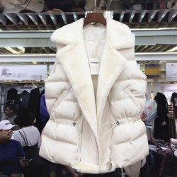 2020 Winter New Korean Zipper Vest Female Fashion Lamb Hair Patchwork Waist Cotton Jacket Women