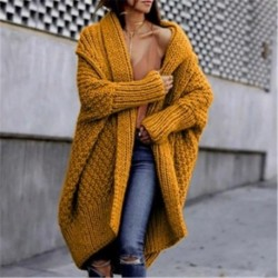 2020 Winter Thick Warm Oversized Cardigan Women Plus Size Knitted Coats Female Casual Solid Outwear Sweaters Overcoats Ladies