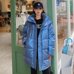 2020 Winter Women Long Jacket Shiny Thick Oversized Female Cold Coat Stand Collar Solid Loose Cotton Padded Casual Parkas Woman