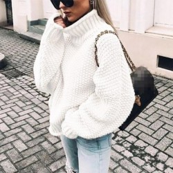 2020 Women Autumn Winter New Style Thick Line Sweater Hot Curled High Loose Cardigan Tops Base