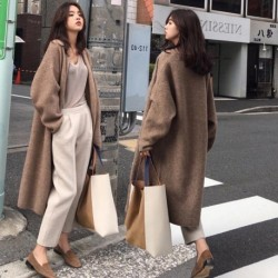2020 Women Autumn Winter Thick Oversized Long Sweater Coat Full Sleeve Knitted Cardigan Jacket Open Stitch