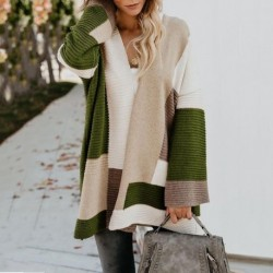 AIGYPTOS large size  autumn and winter new loose European and American style geometric color matching cardigan sweater