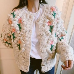 Alien Kitty Knit Cardigan 2020 New Autumn Winter Single-breasted Vintage Flower Embroidery Knitted Sweater Coat Outwear Tops
