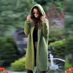 Autumn and winter explosion button cardigan loose knit large size sweater hooded mid-length coat High-quality women's jackets