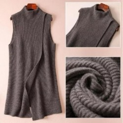 Autumn and winter new solid color knitted cashmere jacket vest female long section half-high round neck sleeveless wool sweater