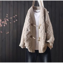 Autumn and winter new sweater cardigan women loose Korean style horn buckle all-match thick coat women