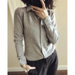 Autumn and winter shirt collar cashmere sweater ladies sweater short paragraph bottoming POLO collar open small lapel shirt swea