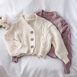 Autumn and Winter Short Thick Needle Linen Twist cardigans women Loose Lantern Sleeve Sweater Lazy Wind Knitted Cardigan Coat