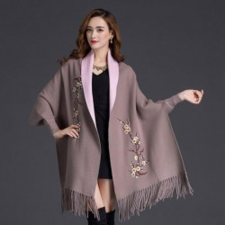 Autumn Winter Can Wear Shawl Scarf Dual-use Embroidery With Sleeves Wool Cashmere Thick Tassel Cloak Female