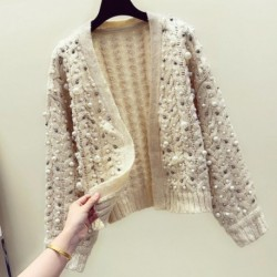 Autumn Winter Knitting Cardigan Sweater Women New Hand Bead Thick Thread Twist Knitted Cardigan V-neck Loose Coat Female