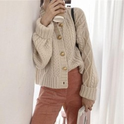 Autumn Winter Lazy Oaf Thick Short Cardigan Ladies Vintage Round Neck Single-breasted Twisted Knit Cardigan Women