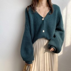 Autumn Winter Thick V Neck Sweater Cardigan Women Vintage Single Breasted Lantern Sleeve Knitted Cardigan Tops sous pull femme