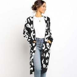 Autumn Winter Women Long Knitwear Sweater Cardigan Female Loose Coat Printed Ladies Long Sleeve High Quality Tops Casual