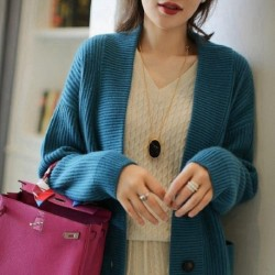 BELIARST Autumn and Winter New 100% Pure Cashmere Cardigan Short V-Neck Sweater Coat Loose Thick Wool Sweater Women