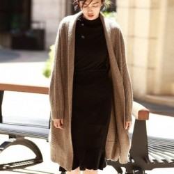 BELIARST Thick Bat Wool Cardigan Women's Autumn and Winter New Long Paragraph Lazy Loose Large Size Knitted Sweater Coat Coat