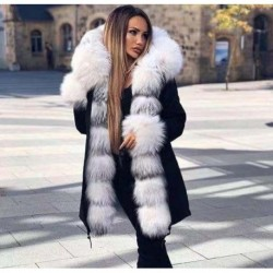 Brand New Style Big Wool Collar Winter Coat Women Fashion Warm Thick Loose Coats Casual Hooded Long Sleeve Jacket Coat Female