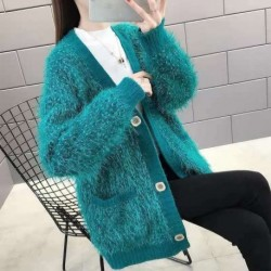 Cardigan Sweater Korean 2020 Autumn Soft Cashmere Loose Single-breasted Knitted V-Neck Winter Streetwear Chic 7 Colors Sweater