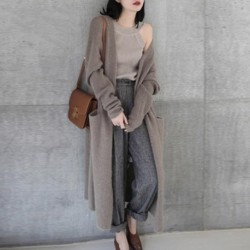 Cashmere Cardigan Sweater Women's Long Over The knee Loose Thick Coat Women 2020 New Autumn Winter Sweaters Jacket Female
