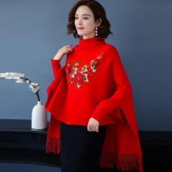 Cashmere Shawl Women Autumn And Winter 2020 New Shawl Knit Cardigan Embroidered Wool Cape Coat With Cheongsam