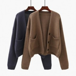 Casual All Match Pocket Women Sweater Cardigan 2020 Winter New Solid Loose Female Outwear Coat Tops