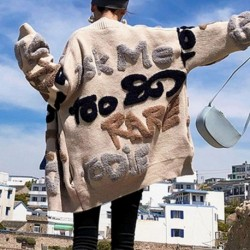 Casual Oversize Letter Print Cardigan Sweater Female Fashion Thick Warm Korean Knitted Coat Outwear Knitwear 2020 Winter Jersey