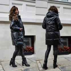 Casual Pure Color Glossy Winter Jacket Women 2020 New Long Hooded Parkas Clothes Puffer Bubble Jacket Coats Female Outwear