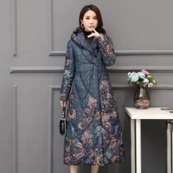 Chinese Style Women's Winter Down Jacket X-long Printing Plus Size Thick Outwear Hooded Loose Covered Button Female Cold Coat