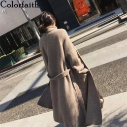 Colorfaith New 2020 Autumn Winter Women's Sweater Pockets Korean Lace Up Minimalist Solid Color Oversize Long Cardigans SWC8219