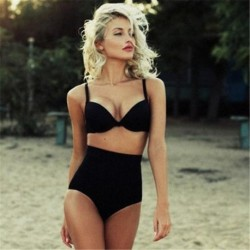 2019 hirigin New Summer Sexy Women's Bikini Set Bandeau Push-Up Bra Black Solid Swimsuit Beachwear Swimwear Bathing Suits