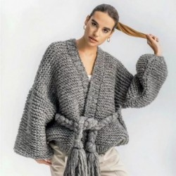 2018 autumn and winter new handmade woven tassel straps lantern sleeves sweater coat female