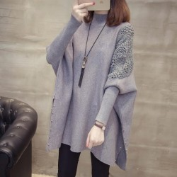 2020 Autumn And Winter New Loose Sweater Coat Women's Half-high Collar Pullover Wrap Swing Beading