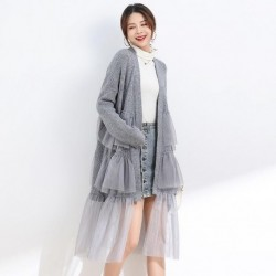 2020 Autumn New Fashion Women Cardigan Mesh Patchwork Long Open Stitch Ruffles Loose Sweater Knitted Jumper Winter Long Knitwear