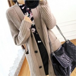 2020 Fall Winter Clothes Thick Cashmere Womens Sweaters Dress Long V-neck Cardigan Knit Cropped Knitting Wool Ladies Jumper