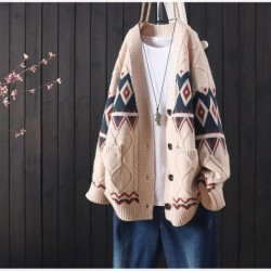2020 knitted cardigan women's sweater retro soft top autumn and winter new loose casual embroidery buttoned long-sleeved