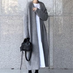 2020 New Autumn Winter Sweater Women Korean Long Knitted Cardigan Coat Thick Large Size Jacket Jumper Clothing V1025