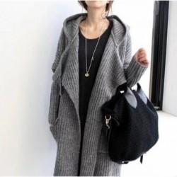 2020 New Winter Sweater Women Knitted Hooded Long Sleeves Solid with Pokects Woman Sweaters Office Lady Long Cardigan Sweater