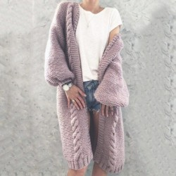 2020 New Women Knitted Cardigan Winter Thick Warm Long Cardigan Female Long Sleeve Vintage Sweater Outwear Plus Size Coats