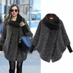 2020 Plus Size Bat Sleeved Woolen Coat Scarf Collar Jackets Women Winter Fashion Outerwear Thicker Loose Coat Zipper Casual X848