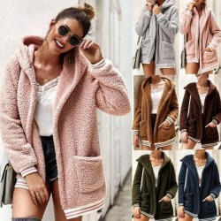 2020 Winter arrival Women Cotton Fluffy Long Sleeve Jacket Ladies Warm Outerwear Cardigan Coat