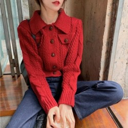 2020 Winter New Knitted Cardigan Lapel Pocket Single Breasted Red Sweater Short Jacket Female Trend